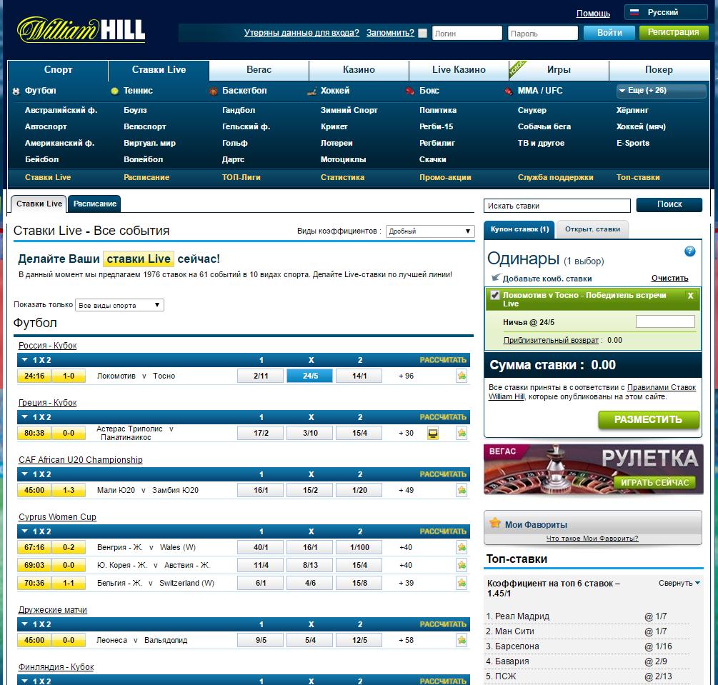 официальный сайт william hill статистика